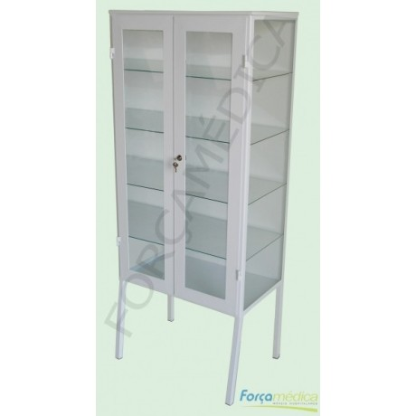 Armario vitrine 2 portas (com vidros) 1,60m x 0,65m x 0,40m - Força Médica